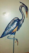 "Blue Heron Crane Bird Garden Stake Metal Yard Art Outdoor Decorative 34""H NEW"