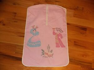 Southwest-American-Pink-Laundry-Bag-Vintage-Hand-Embroidered-Handmade