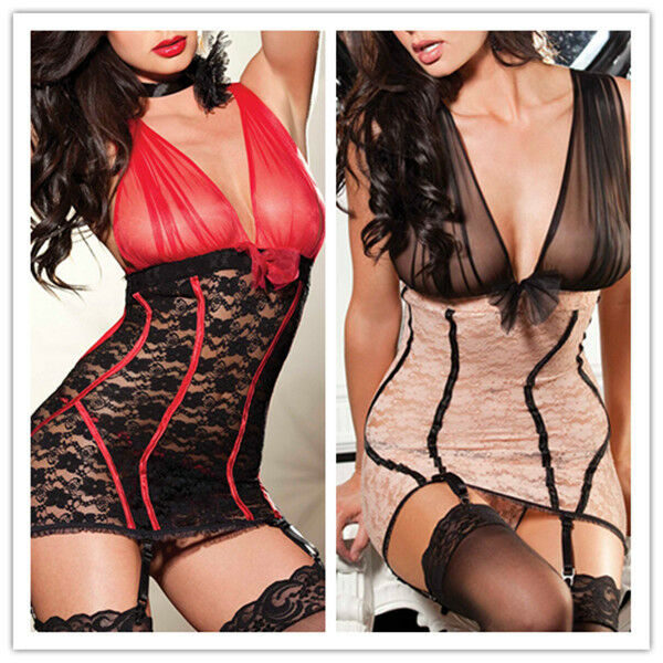 Women Sexy Lingerie Deep V Transparent Lace-up Floral Chemise Night Garter S-2XL