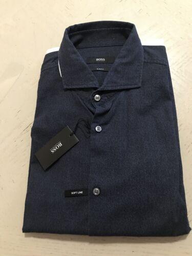 NWT $225 Hugo Boss Mens Slim Fit Navy Dress Shirt Size 46//18