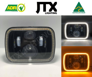 """1 Pair, Black LED JTX Headlights, 5x7"""", White Halo, Flashes Amber, suits Hilux"""