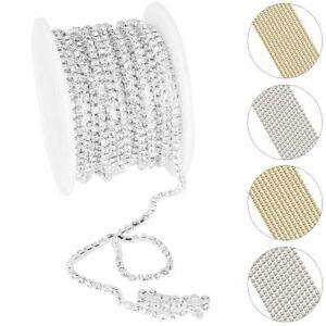 10 Yard DIY Glass Rhinestone Crystal Close Chain Clear Trim Sewing Craft Silver