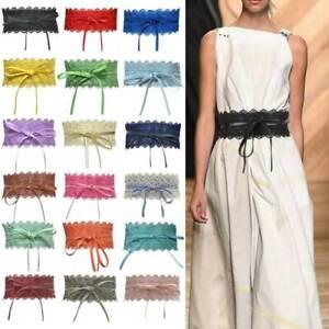 women stretch tieup waist belt bow lace tie wide corset
