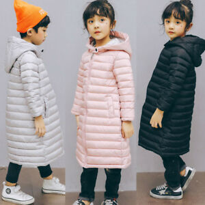 Winter-Kids-Girl-Long-Padded-Coat-Quilted-Jacket-Puffer-Hooded-Parka-Lightweight