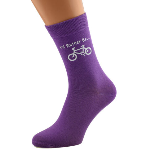 I/'d Rather Be Riding my Bike with Bicycle Image Printed Ladies Purple Socks