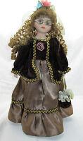 Vintage Porcelain Doll with Elegant Dress Labeled ROSE 1-5000 Green Dress