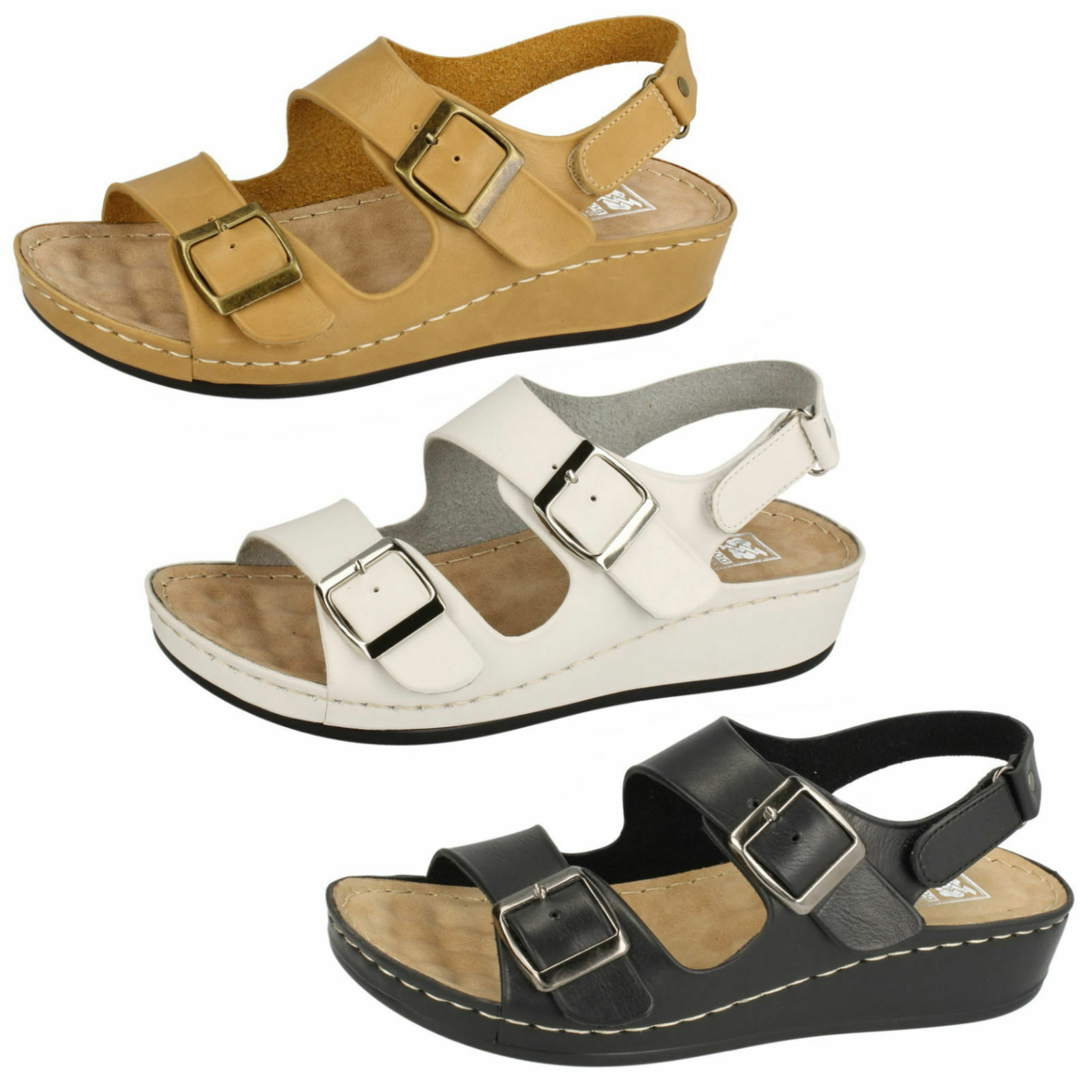 DOWN TO BUCKLE EARTH LADIES RIPTAPE STRAP OPEN TOE WEDGE BUCKLE TO SUMMER SANDALS F10452 003cd4