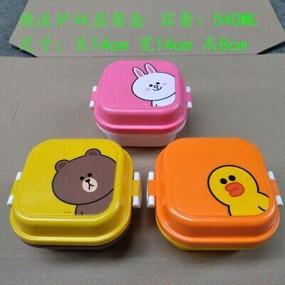 LINE FRIENDS Character SALLY Circular 2 Layer Lunch Box /& Spoon Chopsticks Set