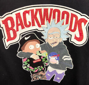 best service 4c7df 9f397 Details about HOODIE Funny RICK AND MONTY Sweatshirt BACKWOODS PULLOVER  BLACK ADULT S-3XL