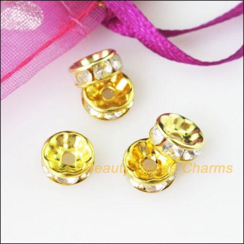 25Pcs Crystal Gold Plated Round Flat Spacer Beads End Caps Charms 8mm