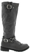NEW Gray KNEE HIGH FLAT Buckle Zipper RIDING BIKER TALL BOOTS Faux Leather Sz 7