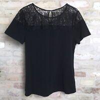 T shirt, H&M, str. 40, Sort, Bomuldsjersey