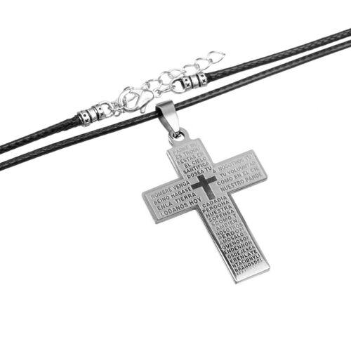 Hommes Acier Inoxydable Croix chrétienne pendentifs long cire Cordon Cuir Colliers