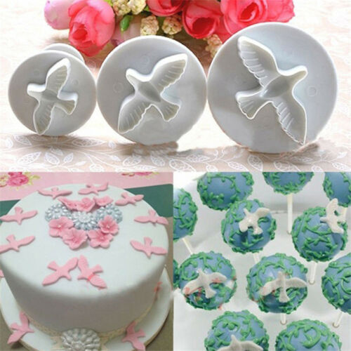 3Pc//set Kitchen White Dove Cake Cookie Molds Mould Cutter Fondant Plunger Tool