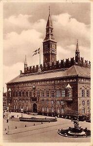 B4167-Denmark-Kobenhavn-rathaus-Town-Hall-1939-front-back-scan