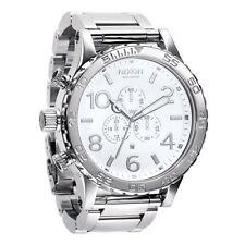 New Authenitc NIXON Watch 51-30 CHRONO Highpolish Silver White A083-488 A083488
