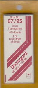 Showgard-Clear-Stamp-Mounts-67-25-mm-US-Coil-Strips-of-3-New-Fresh-Pack-40-Ps