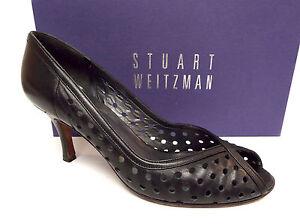 STUART-WEITZMAN-Size-7-5-Black-Perforated-Peep-Toe-Heels-Pumps-Shoes-7-1-2