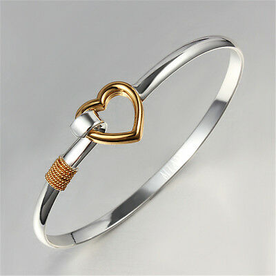 New Fashion Silver Sterling Golden Heart Bangle Bracelet Jewelry Christmas Gift