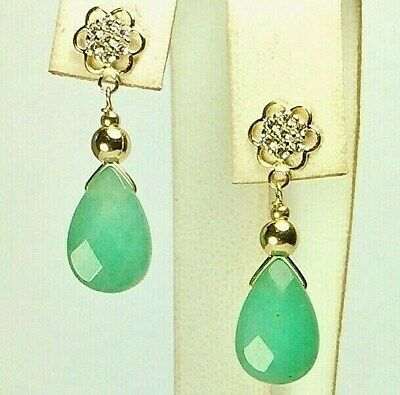 14k Solid Yellow Gold Cabochon Oval Green Jade Stud Earrings TPJ