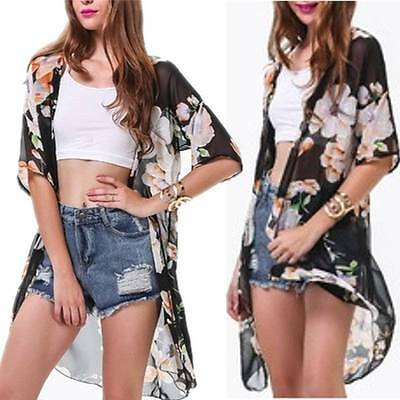 Women Boho Floral Loose Long Chiffon Kimono Coat Blazer Jacket Cardigan Outwear