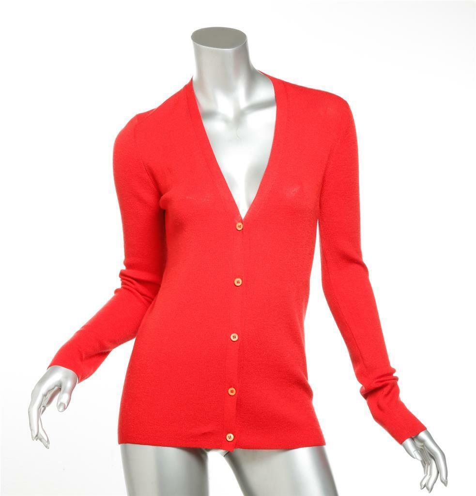 Mezcla de seda ligera  PRADA para Mujer Rojo Botones Suéter Chaqueta de 6 42  gran descuento
