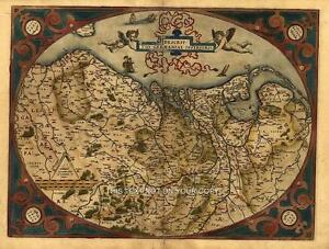 Reproduction-Abraham-Ortelius-Antique-Map-Old-Germania-Netherlands-Germany-Plan