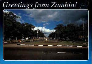 SAMBIA-Postkarte-Zambia-Postcard-Strassen-Ansicht-Street-View-Afrika-Africa