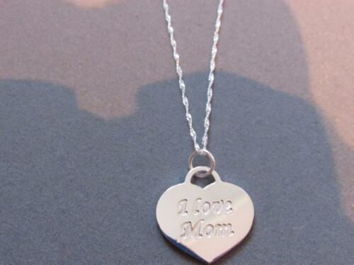 Real .925 Sterling silver ** I LOVE MOM**  Pendant necklace and rope chain