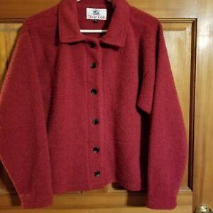 True Grit Dylan Red Fleece Cashmere Blazer Button Up Jacket Size M