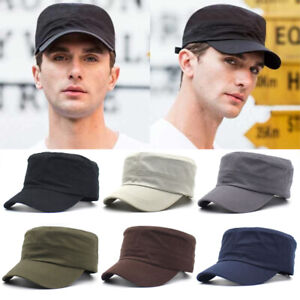 Army-Plain-Hat-Classic-Cadet-Field-Military-Cap-Style-Patrol-Baseball-Adjustable