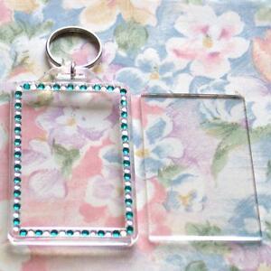 30x-Blank-Green-Silver-Gemstone-Acrylic-Keyrings-70x45mm-Photo-key-ring-plastic