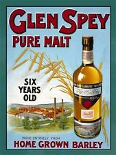 Glen Spey, Pure Malt Scotch Whisky, Pub, Bar & Restaurants, Small Metal/Tin Sign