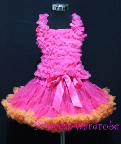 Hot Pink Orange Pettiskirt Hot Pink Ruffles Top 1-8Year