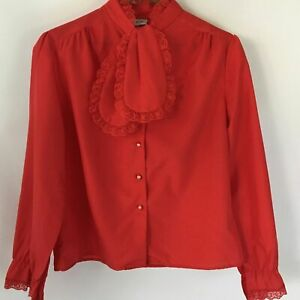 Vintage Secretary Geek Academia Red Jabot Tie Blouse