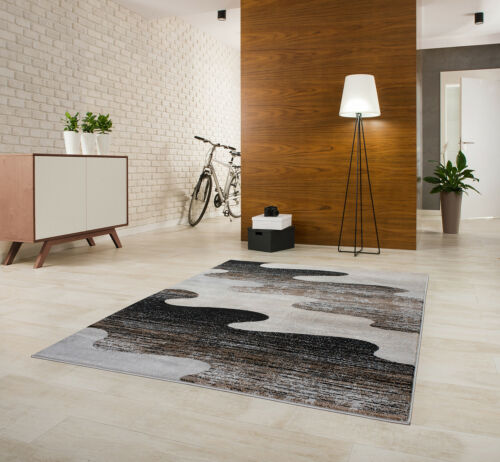 Teppich Kurzflor 2300g//m² Gemustert Grau Weiß Schwarz 80 120 140 160 200/_P1