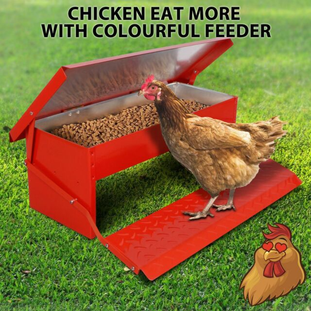 5kg Chicken Feeder Automatic Treadle Self Opening Duck Food Red For