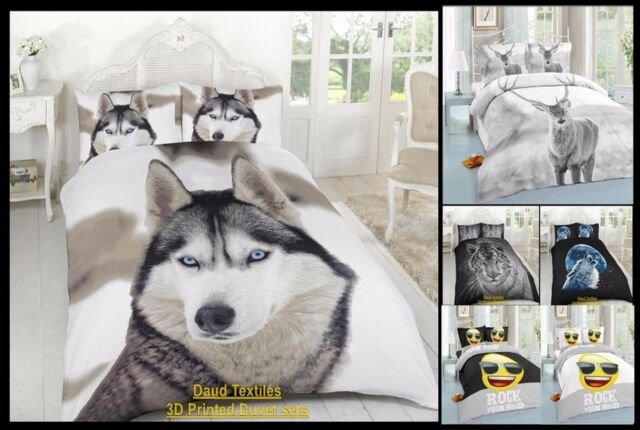 New Bull Dog 3D Duvet Cover Single Double King With Pillow Cases Bedding Set