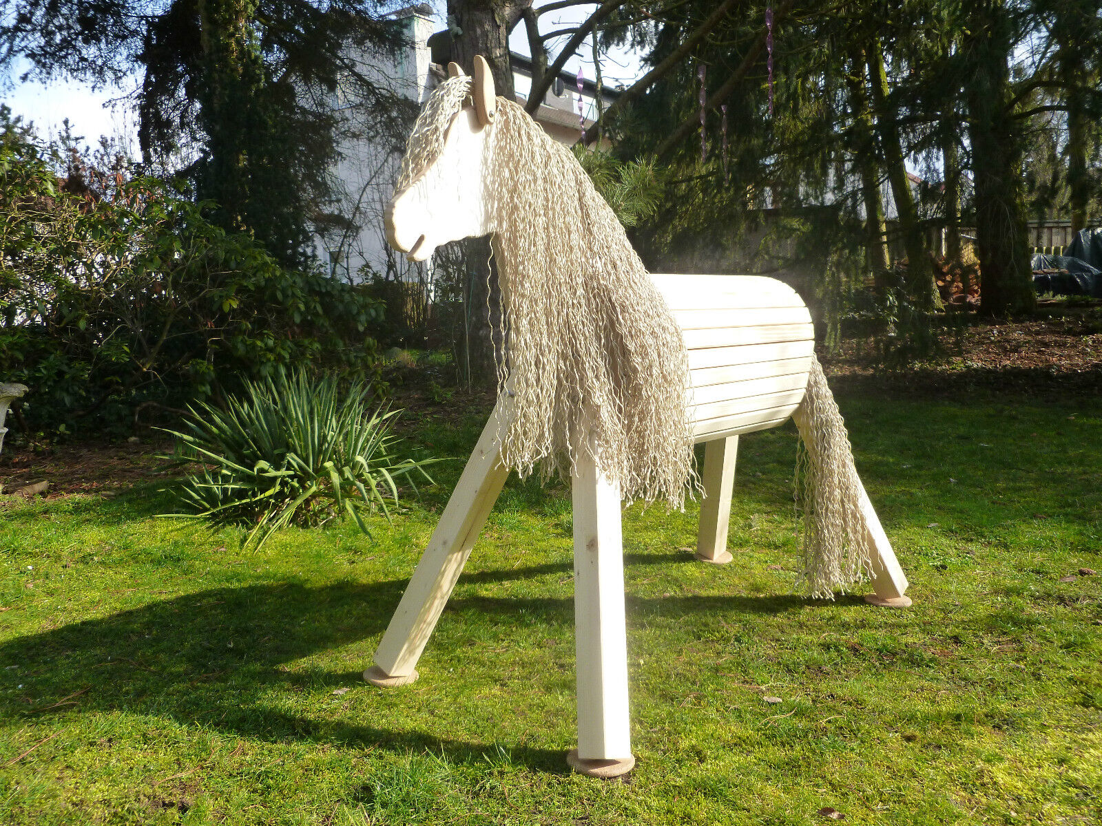 100cm Holzpferd Holzpony Voltigierpferd Spielpferd Pony beige mit Maul NEU