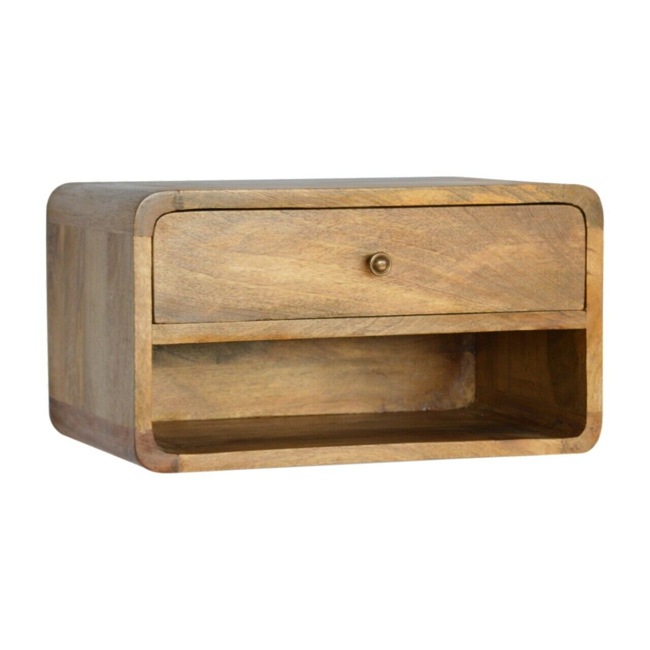 Deco Curved Mid Century Style Oak Ish Wall Mounted Bedside Side Table Open Slot