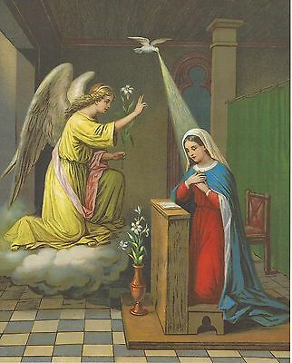 """Catholic Print Picture THE ANNUNCIATION Virgin Mary and Archangel Gabriel 8x10"""" 