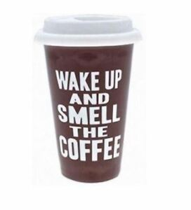 21a5ec7cb78 Details about WAKE UP AND SMELL THE COFFEE INSULATED THERMAL TRAVEL MUG TEA  CUP NEW