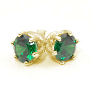 Earrings 6 Claw Emerald Diamond Unique 2ct Solitaire Solid 9ct Gold Studs