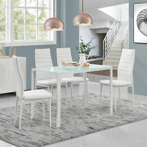 Détails sur [en.casa]® Table à manger + 4 chaises blanc cuisine table de  manger verre table