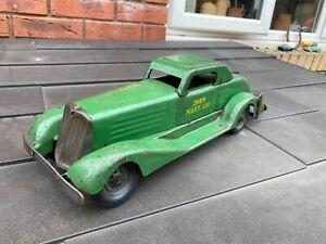 Marx-Toys-1930s-Pressed-Steel-Clockwork-Siren-Police-Car-Working-Rare