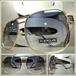 7722fa13dc Details about CLASSIC Upscale LUXURY RETRO Style SUNGLASSES Square Gold Metal  Frame Light Tint