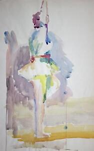 IMPRESSIONIST-BALLET-DANCER-Watercolour-Painting-c1950