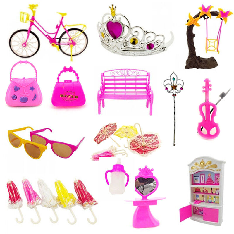55pcs Clothes Party Gown Outfits For Barbie Dolls Accessories Shoes Bags 5