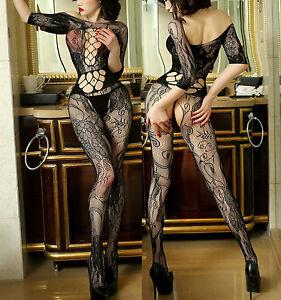 7083-Fishnet-BODYSTOCKINGS-Babydoll-Lingerie-Underwear-SUSPENDER-Ladies-Catsuit