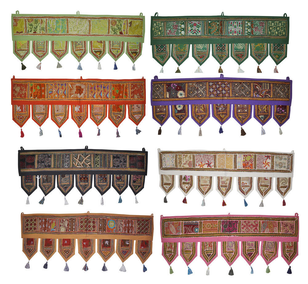 5pc Indian Handmade Cotton Door Hanging Embroiderot Window Valance Vintage Toran